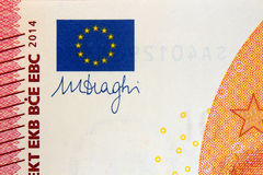 Euro da assinatura dez do draghi de Mario Imagem de Stock