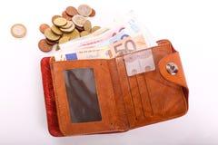 Euro da carteira Fotografia de Stock