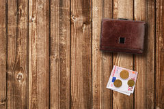 Euro da carteira e do dinheiro Fotografia de Stock