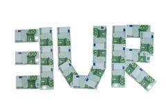 EURO da inscrição construído de euro- contas Fotos de Stock Royalty Free