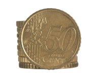 Euro da moeda da pilha Foto de Stock Royalty Free