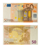 Euro da nota de banco 50 Fotografia de Stock Royalty Free