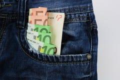 Euro dans des jeans Image stock