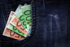 Euro dans des jeans Photographie stock