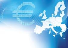 Euro dans l'image tramée avec la carte d'europa à l'arrière-plan Photos libres de droits