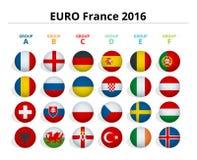 Euro 2016 dans les Frances Drapeaux des pays européens participant au tournoi final du football 2016 d'euro Photos stock