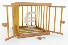 Euro dans une cage Image stock