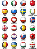 Euro 2016 das bandeiras de países do europeu da bola de futebol Foto de Stock Royalty Free