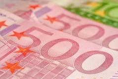 Euro das notas de banco 500 Imagens de Stock