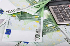 euro de calculatrice de fond Photo libre de droits