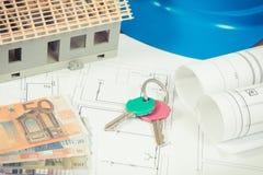 Euro de devises, touches début d'écran, diagrammes électriques pour l'usage dans les travaux d'ingénieur et petite maison, coût à image libre de droits