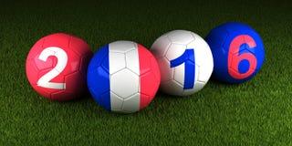 EURO de l'UEFA 2016 boules avec le drapeau des Frances et des nombres dessus Photos stock