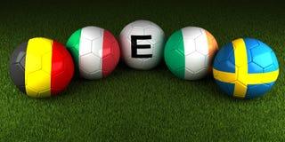 EURO de l'UEFA 2016 boules avec le drapeau du groupe E Belgique Italie Irel Photo stock