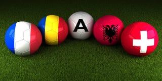 EURO de l'UEFA 2016 boules avec le drapeau du groupe une aube de la Roumanie de Frances Photographie stock libre de droits