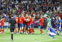 EURO de l'UEFA 2012 derniers jeux Espagne contre l'Italie Photos stock
