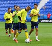 EURO 2016 DE L'UEFA : Formation de pré-match de l'Ukraine à Lyon Photo libre de droits