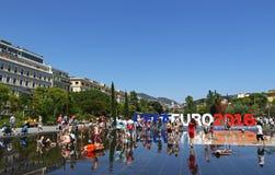 EURO de l'UEFA 2016 lettres chez Promenade du Paillon à Nice, Frances Image libre de droits