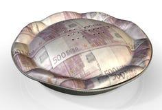 Euro de la empanada del dinero Foto de archivo