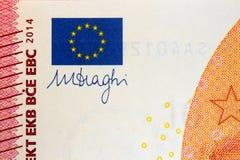 Euro de la firma diez del draghi de Mario Imagen de archivo