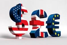 Euro de la libra del dólar Imagen de archivo libre de regalías