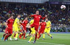 EURO de la UEFA 2016 juegos de calificación Ucrania v España Imagen de archivo libre de regalías