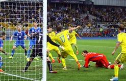 EURO de la UEFA 2016 juegos de calificación Ucrania contra Eslovaquia Imagenes de archivo