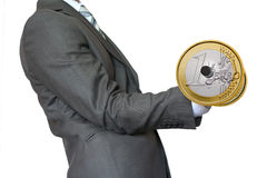 Euro de levage d'or d'haltère d'homme d'affaires Image stock