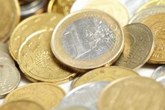 euro de pièce de monnaie de cent Photographie stock