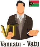 Euro de symbole monétaire de devise nationale du Vanuatu représentant l'argent et le drapeau Images libres de droits