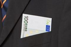 Euro in de zak van een kostuum Stock Afbeelding