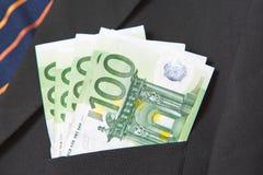 Euro in de zak van een kostuum Royalty-vrije Stock Foto