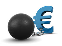 Euro debt. 3d euro symbol tied to the metal chain and ball (3d render Royalty Free Stock Photo