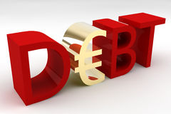 Euro Debt. The word Debt with the letter E replaced with the Euro sign Royalty Free Stock Photo