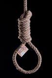 Euro debt crisis. 50 Euro bill hanging on a hangman noose Stock Photo