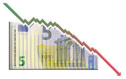 Euro Declining Graph bill Stock Image