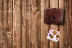 Euro dei contanti e del portafoglio Fotografia Stock