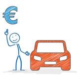 Euro del coche de Stickman Fotos de archivo libres de regalías