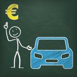 Euro del coche de Stickman de la pizarra Imagenes de archivo
