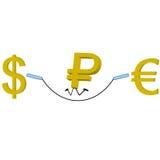 Euro del dólar de la rublo Fotos de archivo libres de regalías