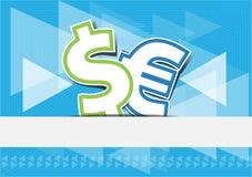 Euro del dollaro di scambio di soldi del fondo Illustrazione di Stock