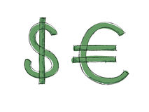 Euro del dollaro di vettore Fotografia Stock