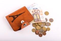 Euro del portafoglio di viaggio - Francia Immagini Stock Libere da Diritti