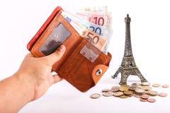 Euro del portafoglio di viaggio - Francia Fotografie Stock Libere da Diritti