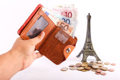 Euro del portafoglio di viaggio - Francia Fotografie Stock