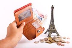 Euro del portafoglio di viaggio - Francia Fotografia Stock