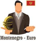 Euro del símbolo de la divisa nacional de Montenegro que representa el dinero y la bandera Imagenes de archivo