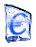 EURO del segno congelato nel ghiaccio Immagine Stock Libera da Diritti