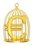 Euro del segno in una gabbia Immagini Stock