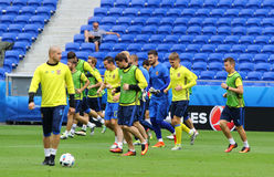 EURO 2016 DELL'UEFA: Addestramento della pre-partita dell'Ucraina a Lione Fotografia Stock