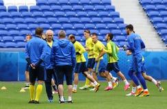 EURO 2016 DELL'UEFA: Addestramento della pre-partita dell'Ucraina a Lione Fotografie Stock Libere da Diritti